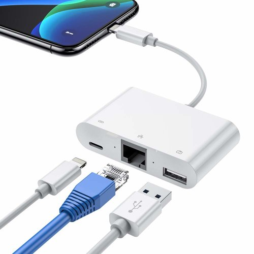 RJ45 Ethernet LAN Wired Network Adapter, Phone Ethernet Adapter, 3 in 1 Ethernet Adapter & OTG USB Camera Reader Adapter Compatible with Phone Pad, Required iOS 10.0 or Up