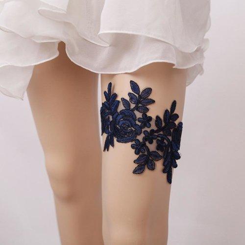 New Female Wedding Fashion Blue Leg Garter Belt For Bride Flower lace Thigh Garter For Women