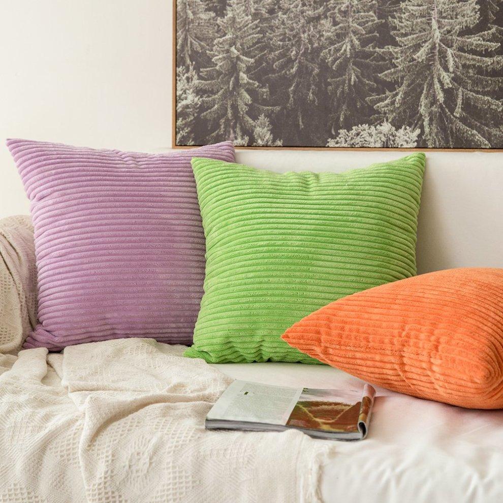 Miulee Set Of 2 Striped Corduroy Square Throw Pillow Case