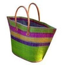 Madagascar Raffia Small Bato Lime Stripe Basket