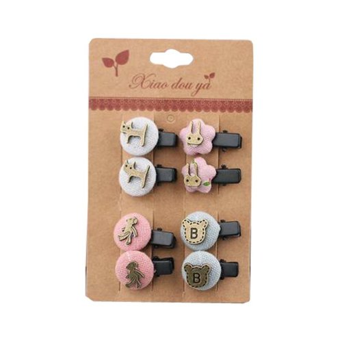Set of 8 Beautiful Adorable Hair Clips Baby Girls Colorful Hair Pins, NO.10