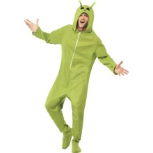 Smiffy's Adult Unisex Alien Costume, Hooded All In One, Legends Of Evil, -  costume fancy dress alien mens adult halloween space outfit
