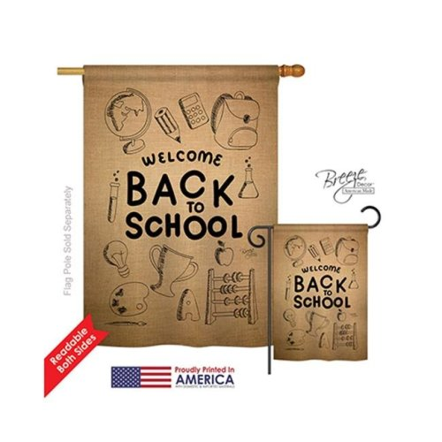 Breeze Decor 15106 School & Education Welcome Back Burlap 2-Sided Vertical Impression House Flag - 28 x 40 in.