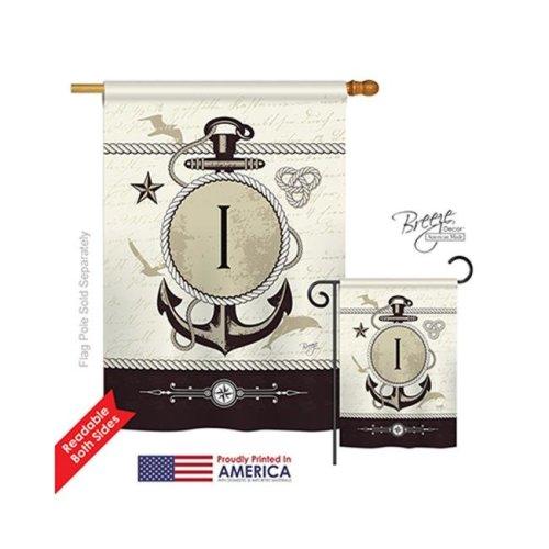 Breeze Decor 30191 Nautical I Monogram 2-Sided Vertical Impression House Flag - 28 x 40 in.