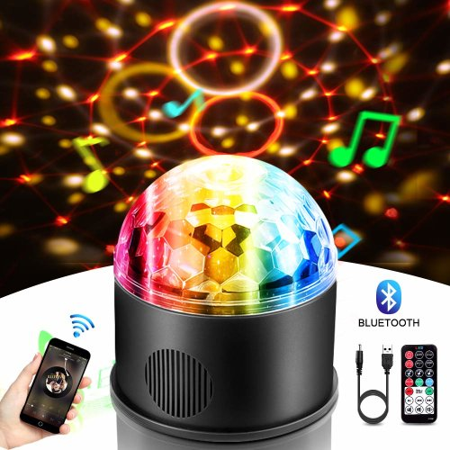 Disco Light, Magic Party Lamp with Bluetooth Speaker Mini Stage LED Lights Sound Activated Colorful Rotating Ball for Birthday Wedding Show KTV Bar DJ Dance Home Parties Club Christmas