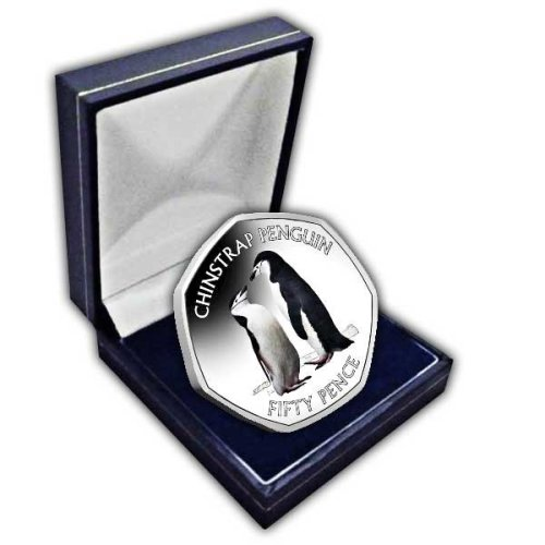 Chinstrap Penguin 2019 50p Cupro Nickel Coloured Coin in a box