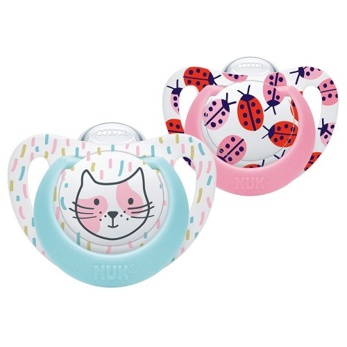 NUK Genius Baby Dummies, 0-6 Months, Silicone, BPA Free, Cat/Ladybird, 2 Count