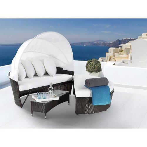 Outdoor Canopy Daybed - Convertible Wicker Sofa Set - SYLT LUX