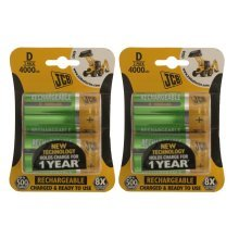 4 x JCB Pre-Charged D Batteries 4000MAH Rechargeable High Capacity Ready To Use