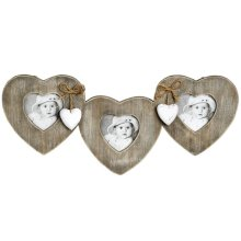 Brown Wooden Hearts And Bows Hanging Frame -  frame chic hanging photo gift rustic triple french hearts shabby wooden three women birthday idea