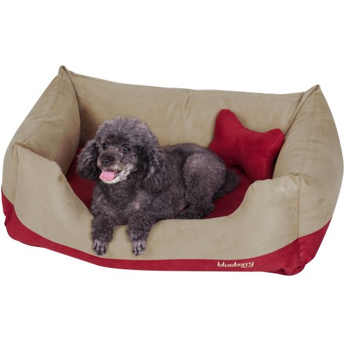 Blueberry Pet Heavy Duty Microsuede Overstuffed Bolster Lounge Dog Bed, Removable & Washable Cover w/YKK Zippers, 86cm x 60cm x 30cm, 11 Lbs, Beige...