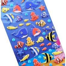 [Aquatic creatures]5 Sheets Funny Cartoon Stickers Children Decorative Toys