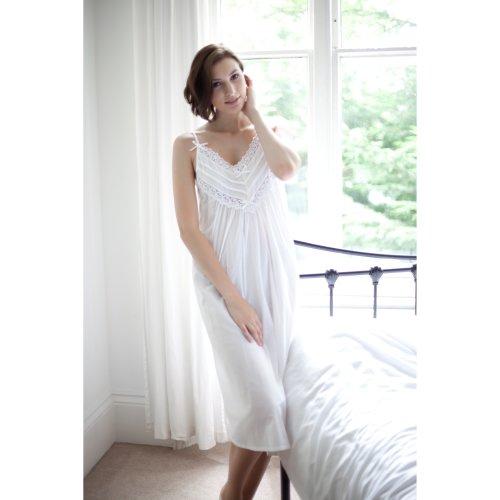 Cottonreal 'Cai' Victorian 100% Cotton Strappy Nightdress