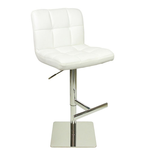 Azagi Weighted Real Leather Kitchen Bar Stool White 57 78cm 88