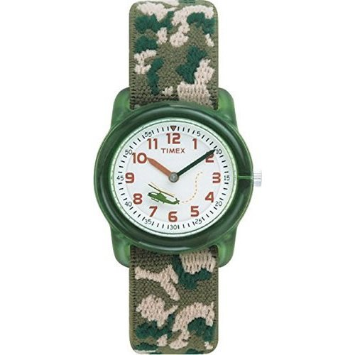 Timex Kids Children's  Watch with White Dial  Display and Green Textile Strap (T78141)
