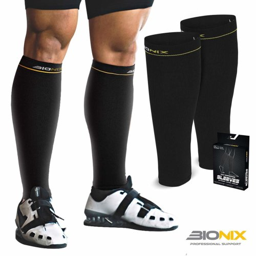 0673efcf0d Bionix Compression Calf Sleeves For Men Women (Black, S/M (Women 4-6.5 / Men  4-8) PAIR - Graduated Compression for Shin Splints & Leg Cramps on OnBuy