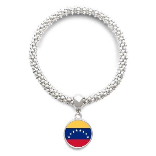 Venezuela National Flag South America Country Sliver Bracelet Round Pendant Jewelry Chain