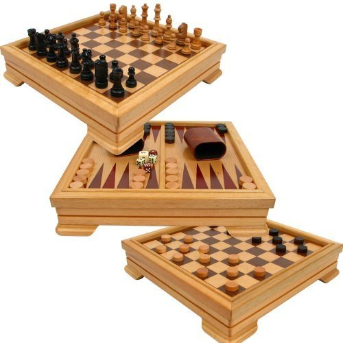 Deluxe 7-in-1 Game Set - Chess, Checkers, Backgammon and More, Brown