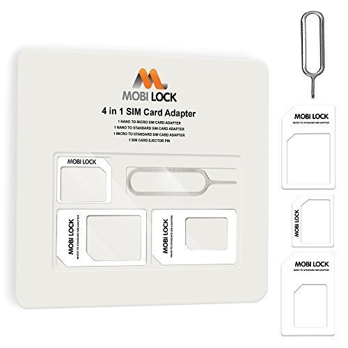 Mobi Lock 4 in 1 Sim Card Adapter (Micro, Nano and Standard Sim) Compatible with iPhone X, 8 Plus, 8, 7 Plus, 7 and All iPhone Series, Samsung,...