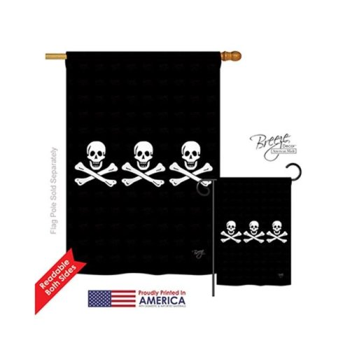 Breeze Decor 07033 Pirate Christopher Condents 2-Sided Vertical Impression House Flag - 28 x 40 in.
