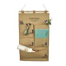5-Pockets Zakka Jute Wall Door Hanging Storage Closet Space Save, Number