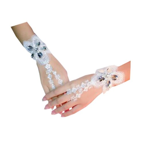 Women's Elegant Lace Fingerless Gloves for Wedding Party Brides Accessory - C