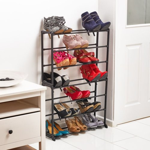 Vinsani 7 Tier Shoe Rack With Plastic Plated Tubing & Plated Steel Frame - Black