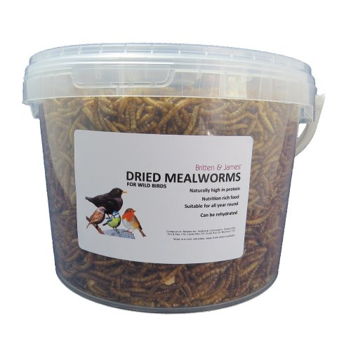 Britten & James - Dried Mealworms - Wild Bird Food in a Stay Fresh Tub (5 L)