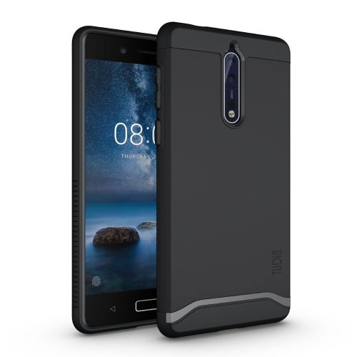 TUDIA Nokia 8 Case, Slim-Fit HEAVY DUTY [MERGE] EXTREME Protection / Rugged but Slim Dual Layer Case for Nokia 8 (Matte Black)