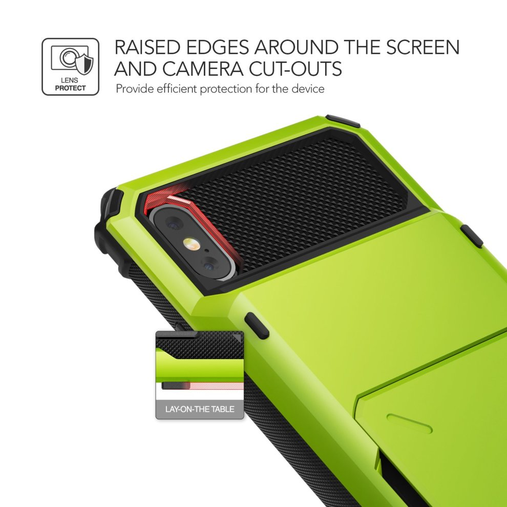 low priced 9d033 567a7 VRS Design iPhone X Case [Lime Green] Protective wallet case with 5 Card  slot | Damda Folder | Shockproof Dual layer phone case for Apple iPhone...