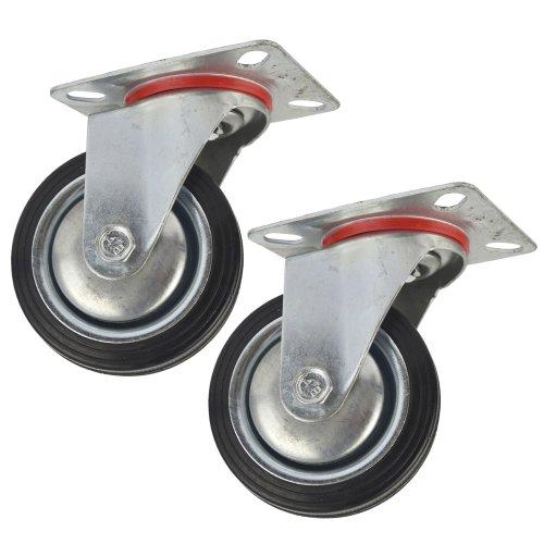 "3"" (75mm) Rubber Swivel Castor Wheels Trolley Furniture Caster (2 Pack) CST02"