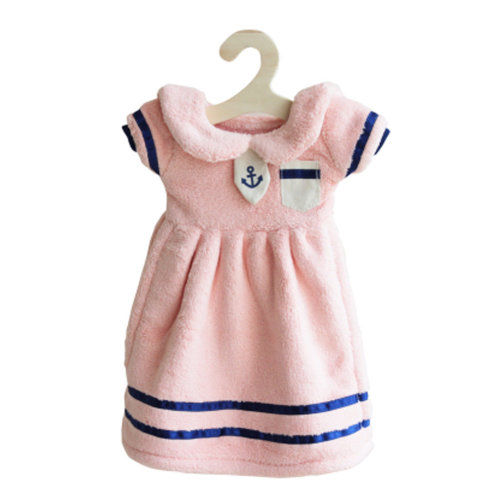 Lovely Soft Thick Hanging Princess Dress Hand Towels Drying Wipe Striped Pink