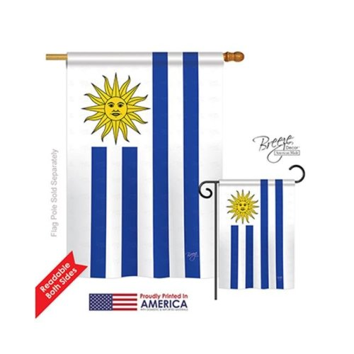 Breeze Decor 08162 Uruguay 2-Sided Vertical Impression House Flag - 28 x 40 in.