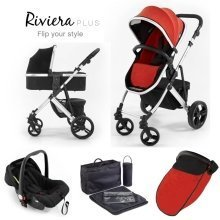 Tutti Bambini Riviera Plus 3 in 1 Silver Travel System - Black/coral Red