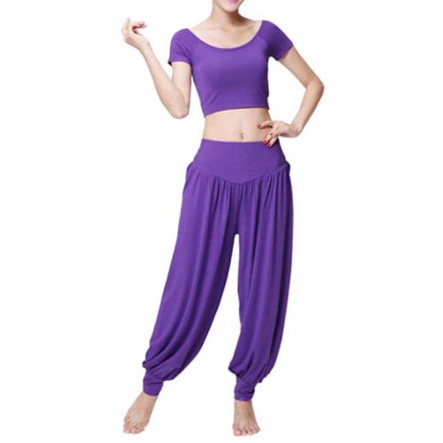 Best Yoga Apparel Sexy Yoga Purple Pant Gym Clothes Dance Outfit Fitness Suit