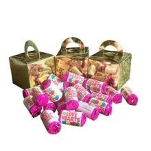 3 Boxes of Mini Love Hearts Filled Holographic Star Gold Cube Balloon Weight Favour Boxes