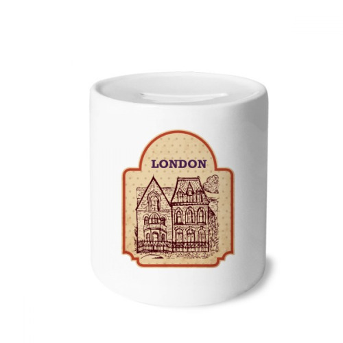 Building sketch UK London Stamp Money Box Saving Banks Ceramic Coin Case Kids Adults