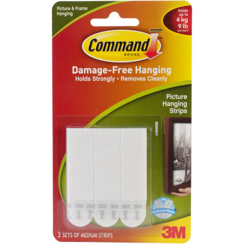 Command Medium Picture Hanging Strips-White 3 Sets/Pkg