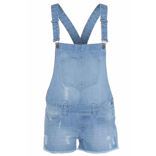 Ladies Frayed Dungarees Short Playsuit Jumpsuit