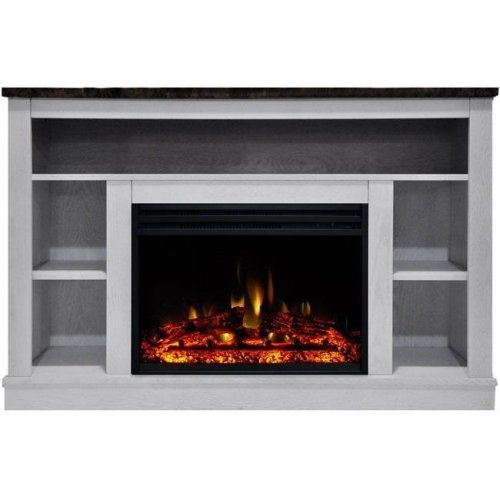 Cambridge CAM5021-1WHTLG3 Seville Electric Fireplace Heater with 47 in. White TV Stand Enhanced Log Display, Multi Color Flames