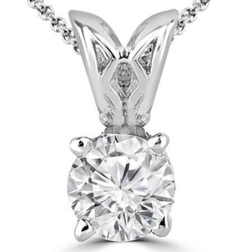 Solitaire Round Cut Diamond Necklace Pendant White Gold 14K 1.5 Carats