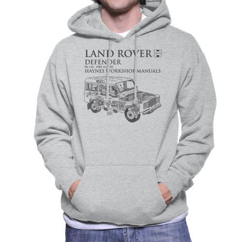 Haynes Owners Workshop Manual 3017 Land Rover Defender Black Men's Hooded Sweatshirt