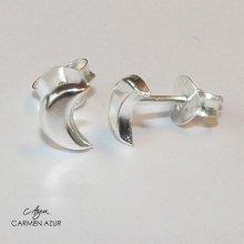 925 Sterling Silver Stud Earrings, Half Moon Crescent Design