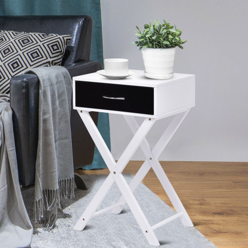 Modern End Side Table Nightstand X-Shape Accent Bedside Table w/ Drawer Home UK