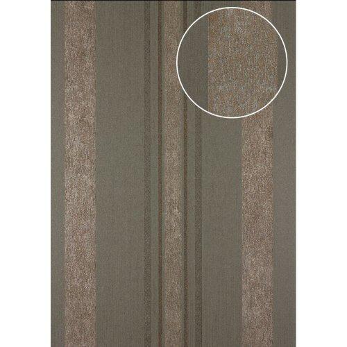 Atlas 24C-5059-4 Stripes wallpaper metallic highlights grey copper 7.035 sqm
