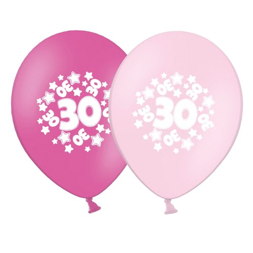 "number 30 - stars -  12""  Pink Assortment Latex Balloons pack of 6"
