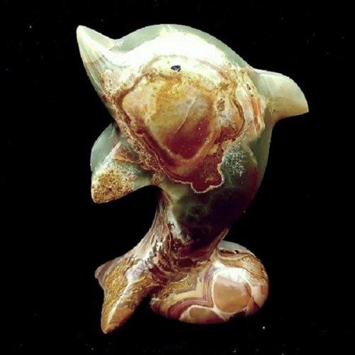 Onyx Marble Dolphin Sealife Ornament